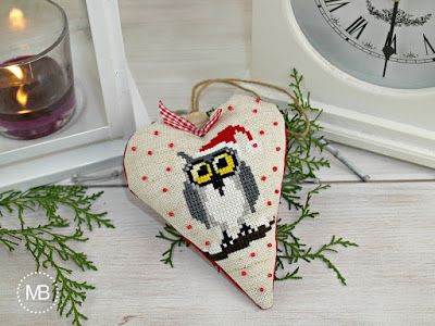 Heart Cross Stitch decoration by MiauBoutique - Owl