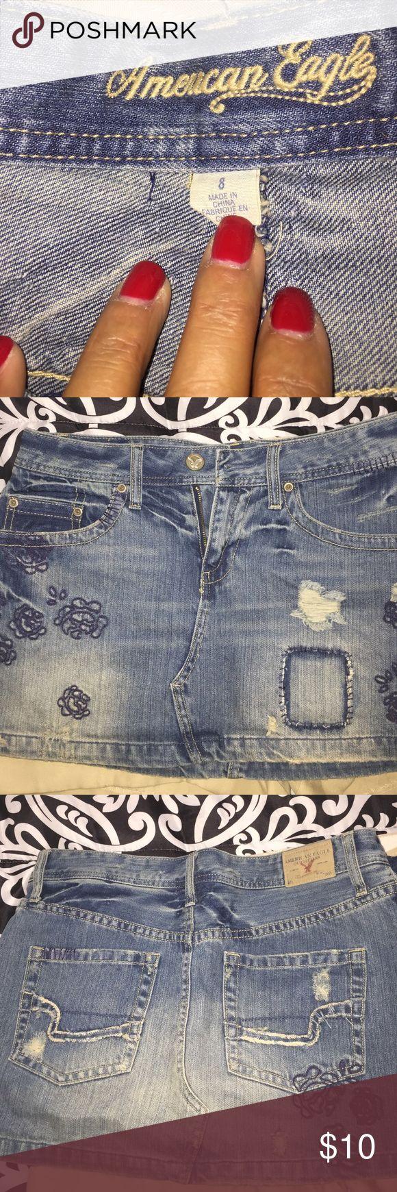 EUC Distressed jean skirt American Eagle distressed jean mini skirt. Super cute. American Eagle Outfitters Skirts Mini