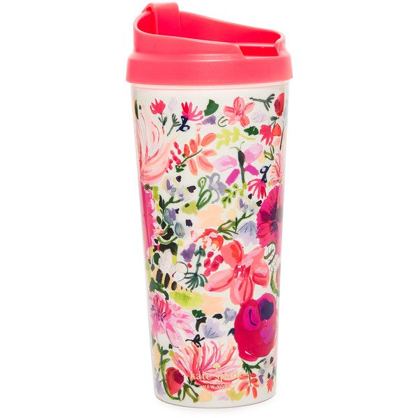 Kate Spade New York Dahlia Thermal Mug (€15) ❤ liked on Polyvore featuring home, kitchen & dining, drinkware, pink multi, thermal mug, kate spade travel cup, floral travel mug, kate spade thermal mug and kate spade travel mug