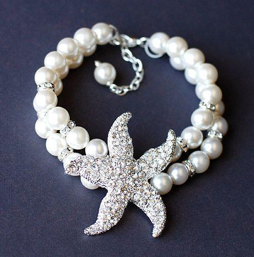 Bridal Pearl Rhinestone Bracelet Double Strand STARFISH Crystal Beach Wedding Jewelry BL009LX. $45.00, via Etsy.