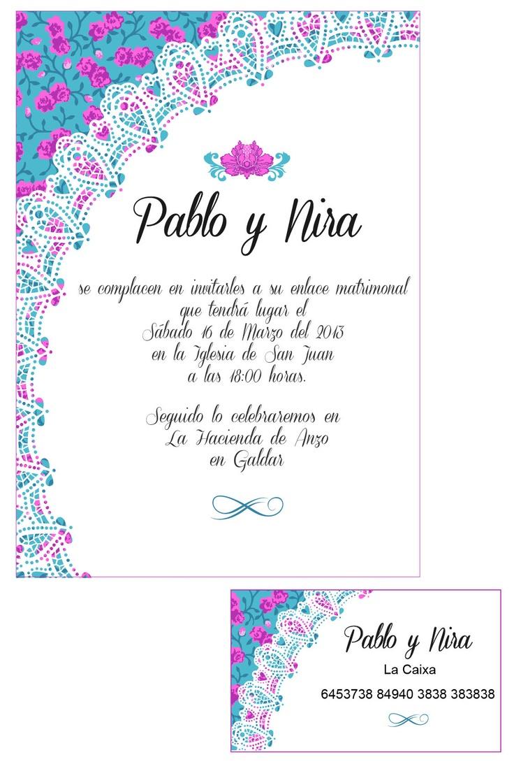 Hago diseños de Tarjetas de boda totalmente exclusivos. Infórmate en idairaartiles@gmail.com