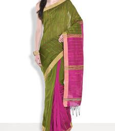Buy Green hand_woven handloom saree with blouse handloom-saree online
