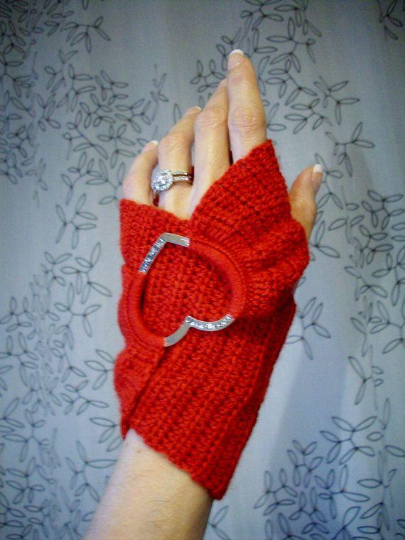 Red Heart Crochet Infinity Fingerless Gloves