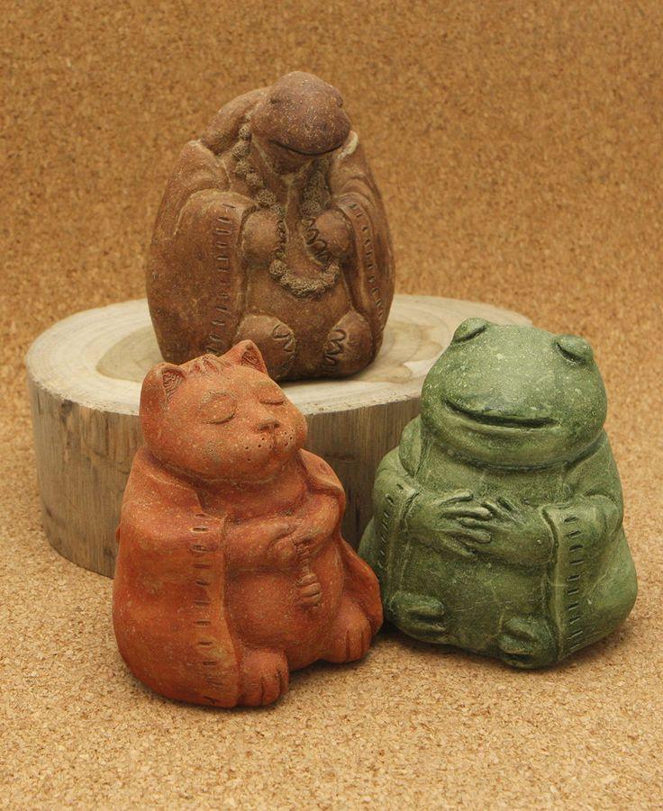 Cast Stone Meditating Zen Garden Animal Statues, Set of Three