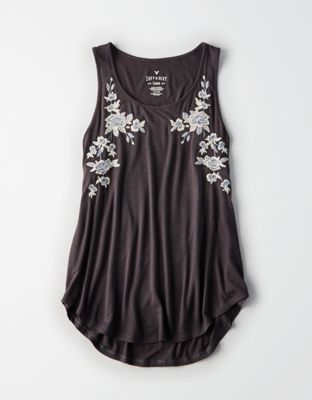 90fd733280aed0 AE FLORAL EMBROIDERED FAVORITE SCOOP NECK TANK TOP by American Eagle  Outfitters | Soft