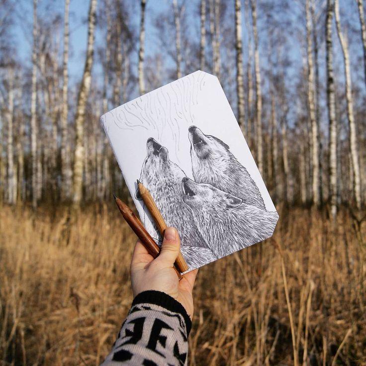 by @kcrm_crafts >>https://www.etsy.com/shop/KCRMcrafts<<  #illustration #ilustracja #rysunek #drawing #howlingwolf #howling #wolf #wilk #wildlife #nature #natura #naturelove #notebook #notatnik #jotter #handmade #etsy #sketchbook #szkicownik #kcrmcrafts #podlasie #poland #polska #recznierobione
