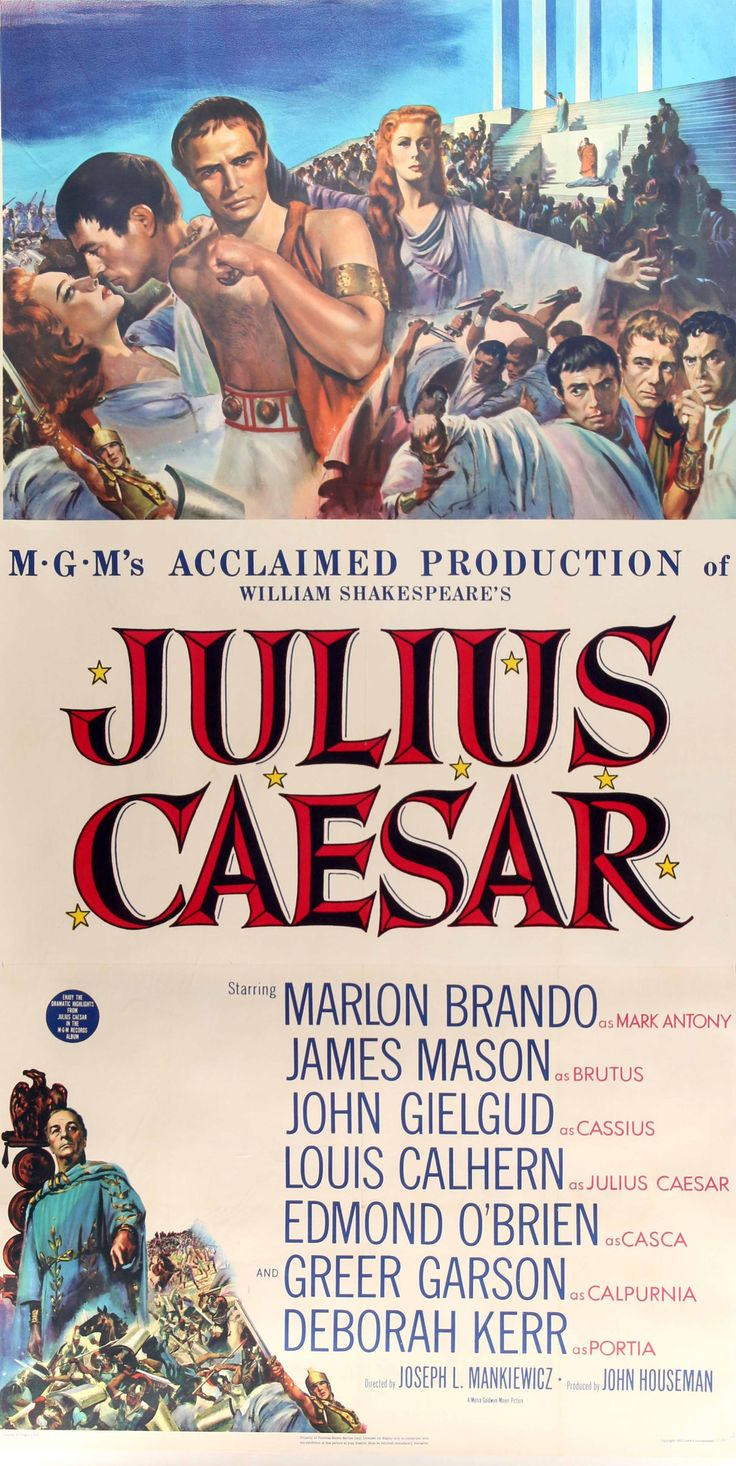 "Film: Julius Caesar (1953) Year poster printed: 1953 Country: USA Size: 41"" x 81"" (plus linen border) This is an original, linen-backed three-sheet movie poster from 1953 for William Shakespeare's Jul"