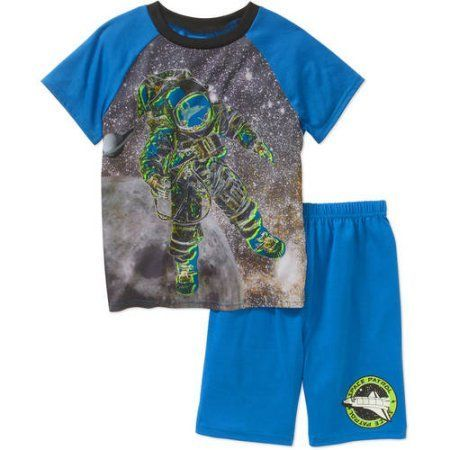 Komar Kids Boys Space 4D+ Interactive 2 PC Sleepwear Short Set with Augmented Reality, Boy's, Size: 14/16, Blue