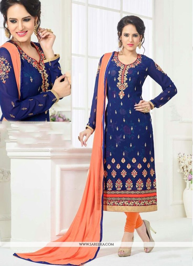 Include yourself with the glamour of the season with this navy blue faux georgette churidar designer suit. This wonderful attire is showing some fantastic embroidery done with embroidered work. Comes ...