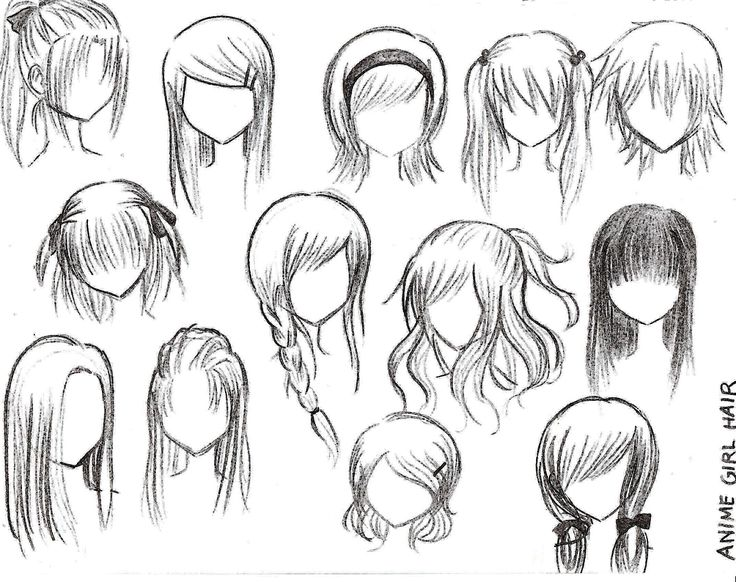 anime girl hairstyles. I can use this for my drawings!