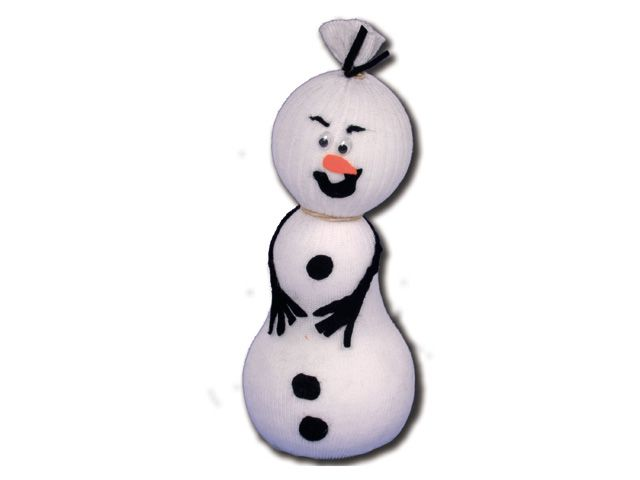 Rolf de sneeuwpop - Bij de winter hoort natuurlijk een sneeuwpop. Deze maak je met een sok, tempex en vilt. Rolf heeft het snel koud dus vergeet niet om hem ook een sjaal te geven!
