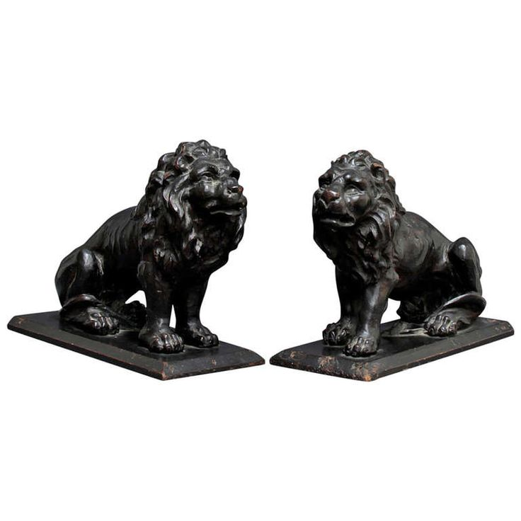 17th C. pair of Italian wooden Lions | From a unique collection of antique and modern decorative objects at http://www.1stdibs.com/furniture/more-furniture-collectibles/decorative-objects/