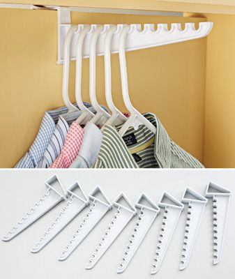 "Turn any door into an impromptu closet for temporarily hanging ironing or drying laundry. Set of 8 over-the-door racks slide on instantly over the tops of doors each holds 10 hangers. Plastic. 9 1/2""L each. - See more at: http://www.collectionsetc.com/Product/set-of-8-over-the-door-hanger-organization-holders.aspx?xsell=B1#sthash.FPwj86v3.dpuf"