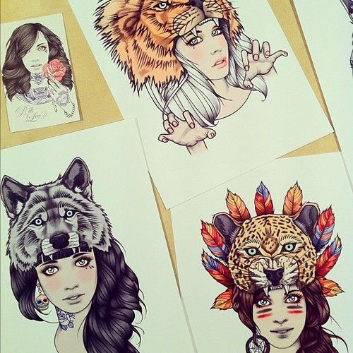 Girls with animal heads designs