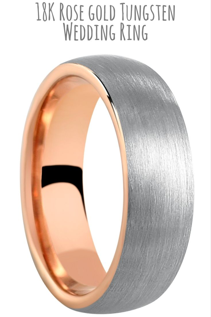 tungsten wedding rings gold tungsten wedding bands 6mm Or 8mm 18K Brushed Tungsten Ring With Rose Gold