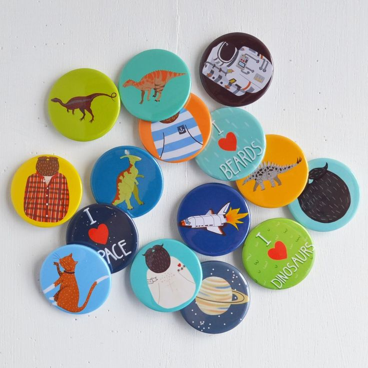 The product Lucky Dip Set of 15 Pin Badges is sold by Hannah Stevens Illustration & Design in our Tictail store.  Tictail lets you create a beautiful online store for free - tictail.com