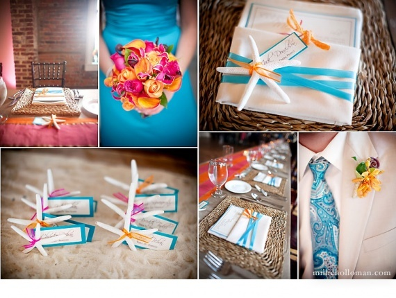 14 deco decoration mariage theme iles turquoise orange for Idee deco mural