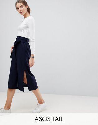 4749adb99 TALL Tailored Linen Paperbag Waist Split Side Midi Pencil Skirt | My ...