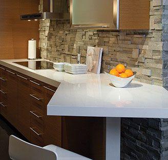 Kitchen inspiration (white quartz countertops, modern cherry cabinets, stone backsplash)