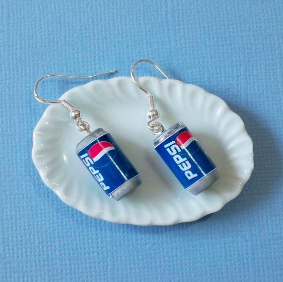 Pepsi earrings Pepsi can drink Dangle Earrings by yifatiii
