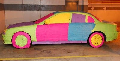 covering someone's car in post-its......love the idea of how long it would take to pull all those off!