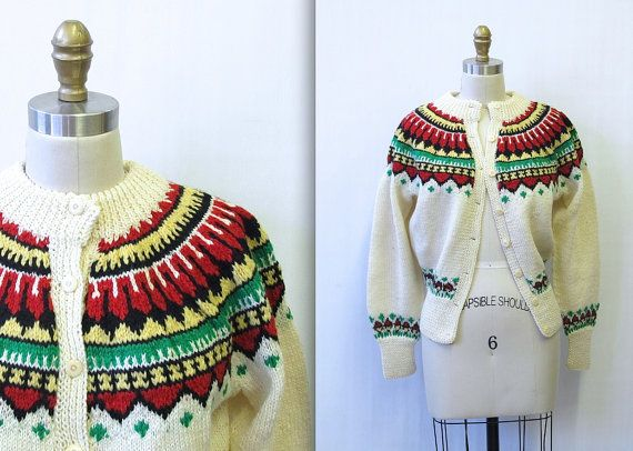 Vintage 1960's Fair Isle Wool Knit Cardigan by mysterymister