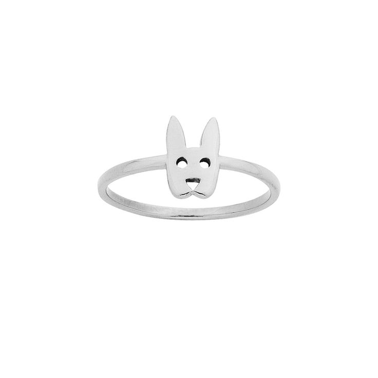 Mini Rabbit ring - $59. Thin and delicate ring crafted in 925 sterling silver, with small rabbit head feature detail. KW and 925 stamped on the inside of ring. Lovingly created by New Zealand clothing and accessories designer label Karen Walker. www.savethelastpinker.com.au/shop/mini-rabbit-ring/