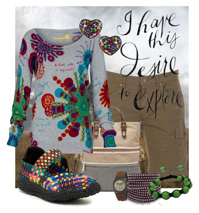 """""""Desire to Explore"""" by shoppe23 ❤ liked on Polyvore featuring BOSS Orange, FOSSIL, Desigual, Bernie Mev, Timex and BernieMev"""