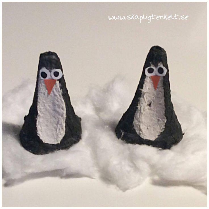 Pluttiga pingviner - pyssla pingviner av äggkartong.