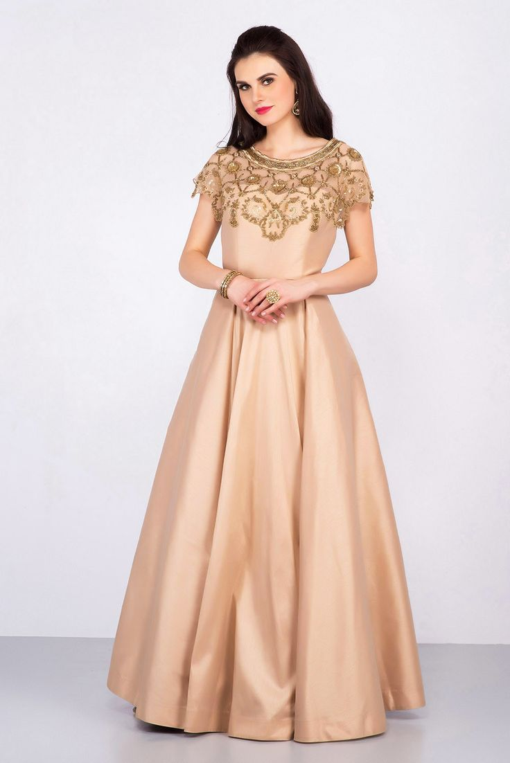 WEAVES OF WONDER golden embroidery gown
