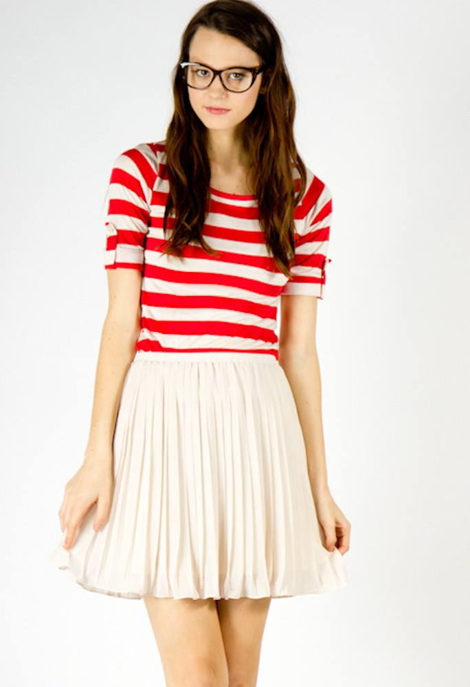 Lucy Striped Tee in Red