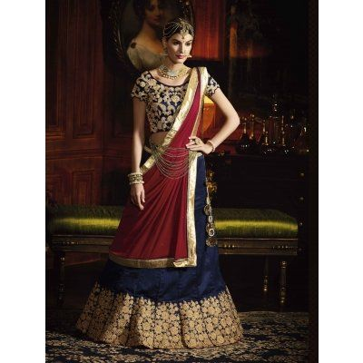 Blue Silk Lehenga Choli with Embroidery Work