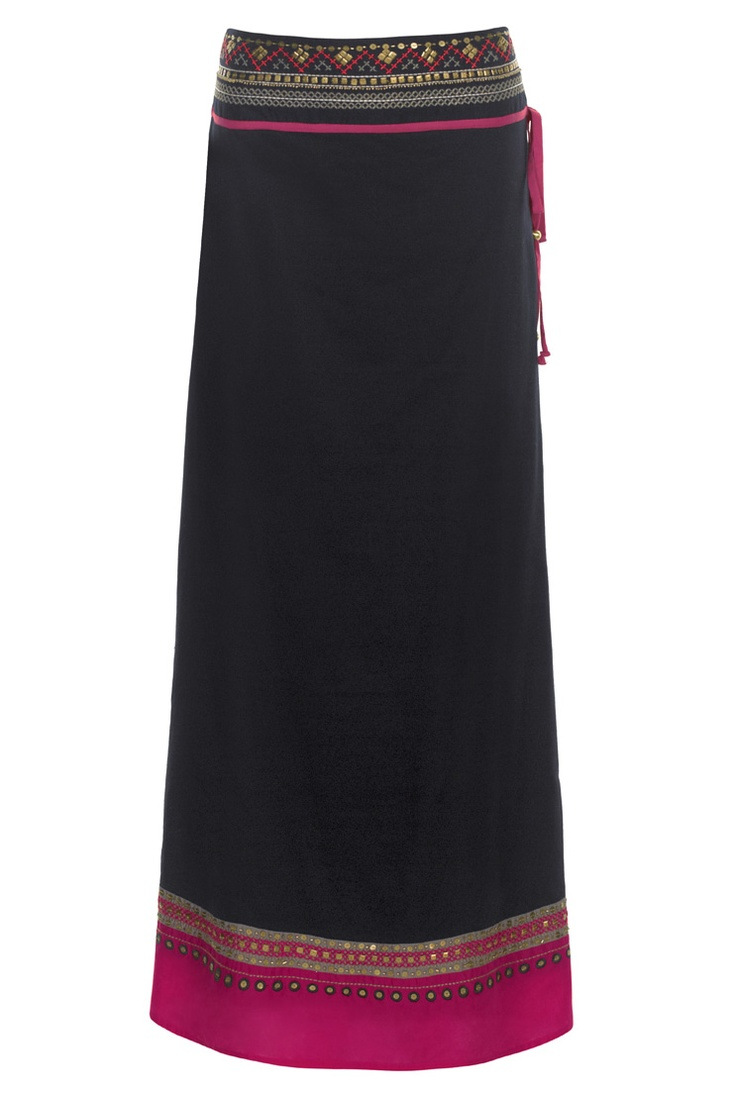 Long black cotton maxi skirt with draw waist trimmed at the top & bottom in a magenta pattern that reminds me of Morrocco. Perfect for ths Summer heat with flat, black, strappy sandals.
