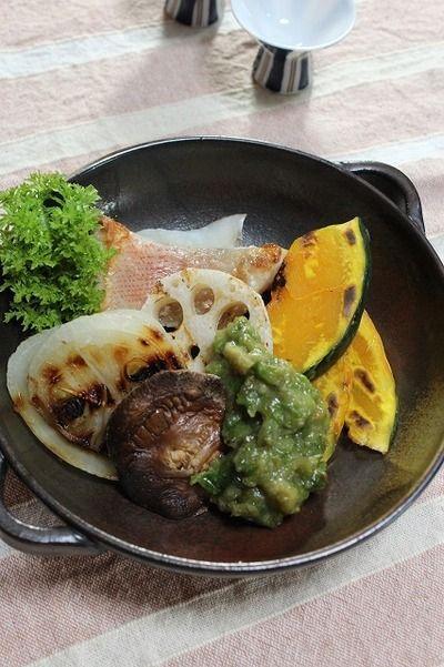 クルミ入りふきのとう味噌で食べる焼き野菜☆グリルパン焼き〜で簡単 ...