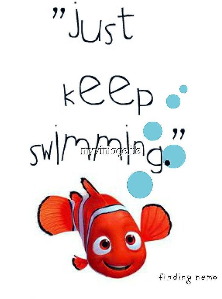 """Details about Finding Nemo """"Just Keep Swimming"""" Gold fish Quilting Fabric Block 8×10"""