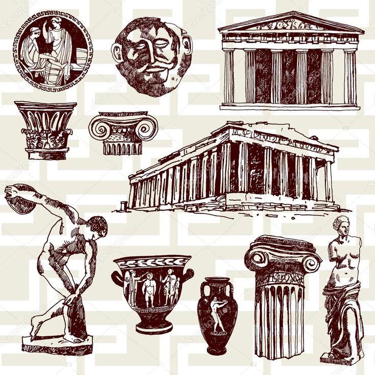 Scarica - Elementi antichi della Grecia — Illustrazione stock #30673841