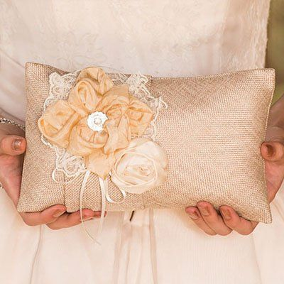 Chic Burlap Ring Pillow by Beau-coup