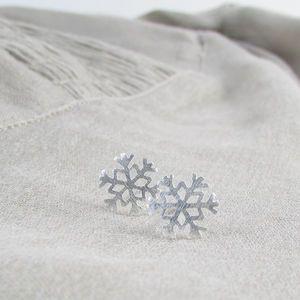 'Snowflake' Silver Ear Studs - women's jewellery