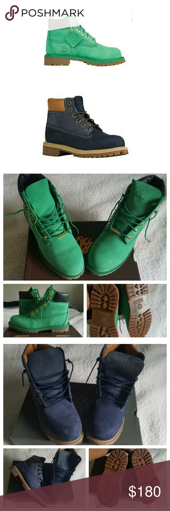 Timberland Boots Youth Size 6.5 which is equivalent to a women's size 7.5, 8 or 8.5. Limited Edition Celtic green and two tone blue color. Excellent Used Condition! Boxes included if paying additional shipping rate. Price is for both pair! Same or next day shipping MONDAY THRU FRIDAY Timberland Shoes Boots