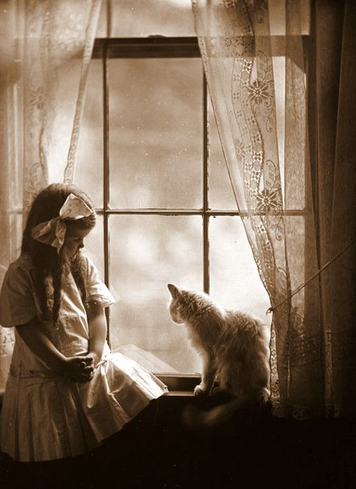 Little girl in window with her cat ~ subtle sepia
