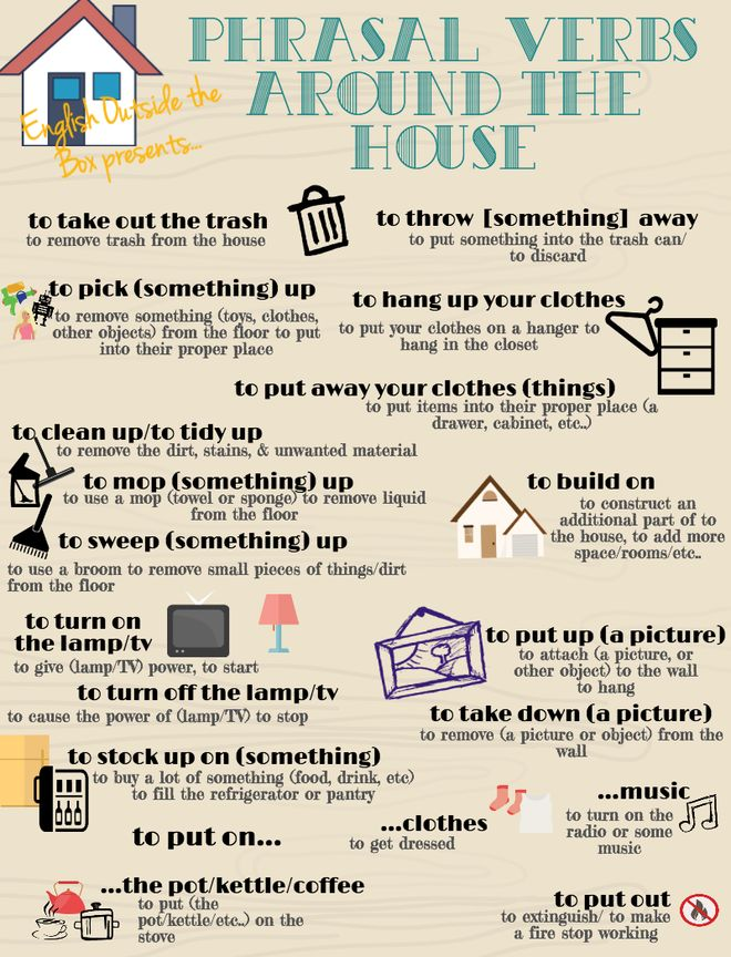 Phrasal verbs around the house! Repinned by Chesapeake College Adult Ed. We offer free classes on the Eastern Shore of MD to help you earn your GED - H.S. Diploma or Learn English (ESL). www.Chesapeake.edu