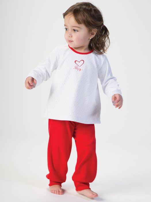 Pijama para niña de rapife con detalle bordado, prendas suaves y tradicionales en algodón. Máxima transpiración. Hecho en España.