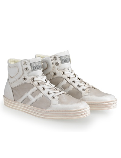 HOGAN REBEL Men's Spring - Summer 2013 collection: High-Top basket sneakers with canvas panels.