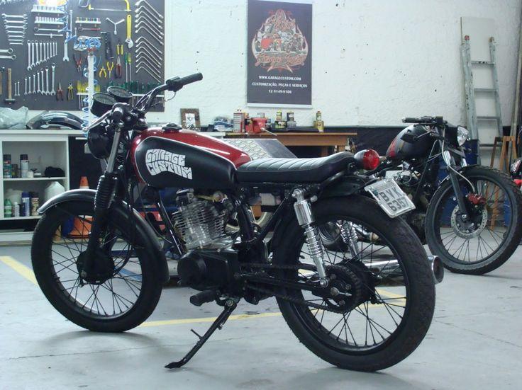 Custom: Cool Modified Motorbikes with Honda CG125 Parts, Cool Black Flat Tracker Honda CG125 with Two Tone Gas Tank Customized by Garage Custom