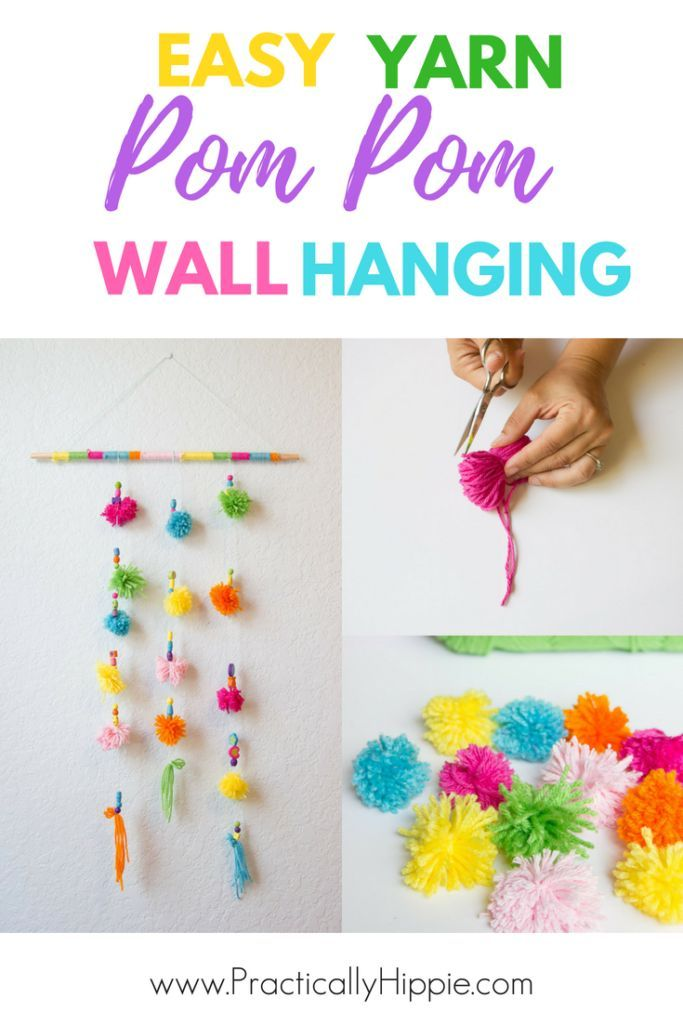 Yarn Pom Pom Wall Hanging Crafts For Kids And Mom Crafts For