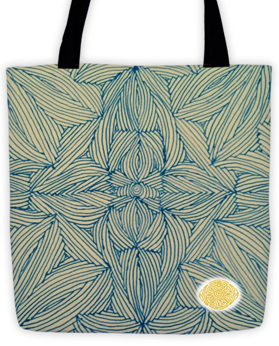Bondi Blue Scribble Tote by: Eyes of Beijing