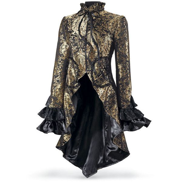 Brocaded Cutaway Coat Size Large ($160) ❤ liked on Polyvore featuring outerwear, coats, jackets, steampunk, tops, steampunk coat, brocade coat, black coat, long black coat and long coat