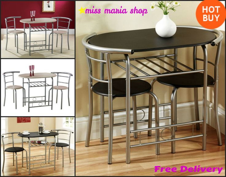 Small Dining Table Set 2 Chairs Black Beech Shelf Bistro Kitchen Furniture 3PC