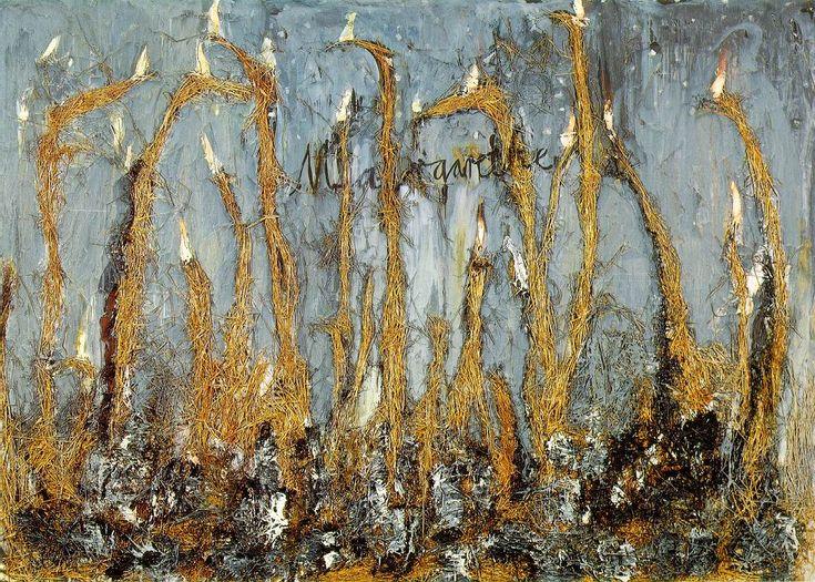 """Anselm Kiefer, translating Celan onto the canvas. """"der schreibt wenn es dunkelt nach Deutschland dein goldenes Haar Margarete..."""" (Todesfuge)"""