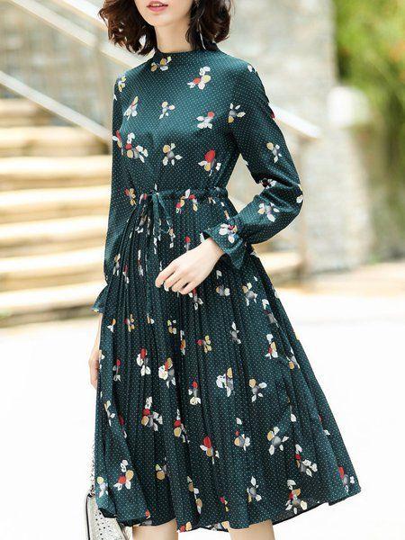 Shop Midi Dresses - Polka Dots Elegant Long Sleeve Floral-print Midi Dress online. Discover unique designers fashion at StyleWe.com.